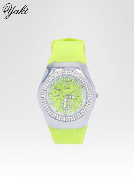 Limonkowy zegarek damski z kopertą z cyrkonii