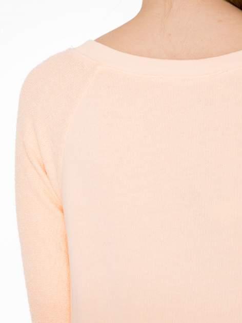 Łososiowa bluza oversize z łączonych materiałów                                  zdj.                                  7