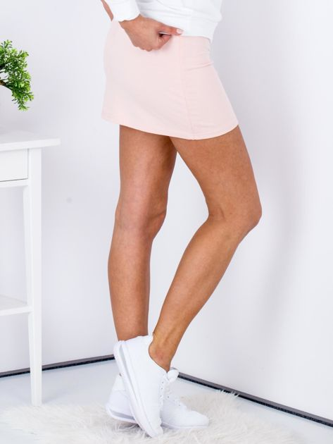 Łososiowa dresowa spódnica mini                              zdj.                              3