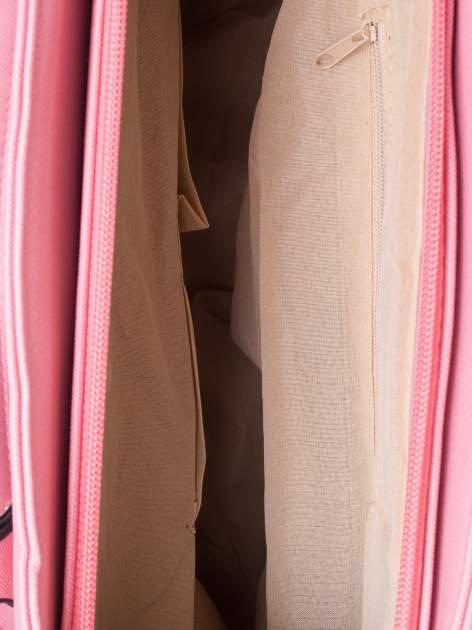 Łososiowa torba shopper bag z odpinanym paskiem                                  zdj.                                  4
