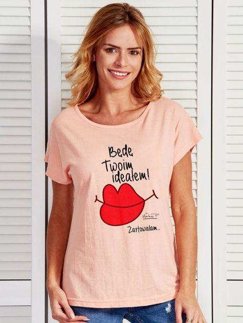 Łososiowy t-shirt damski BĘDĘ TWOIM IDEAŁEM by Markus P                              zdj.                              1