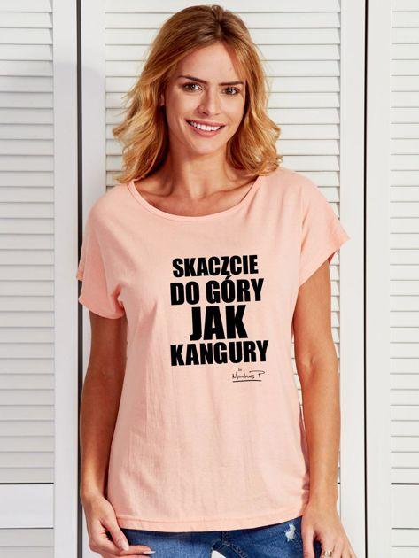 Łososiowy t-shirt damski SKACZCIE DO GÓRY JAK KANGURY by Markus P                              zdj.                              1