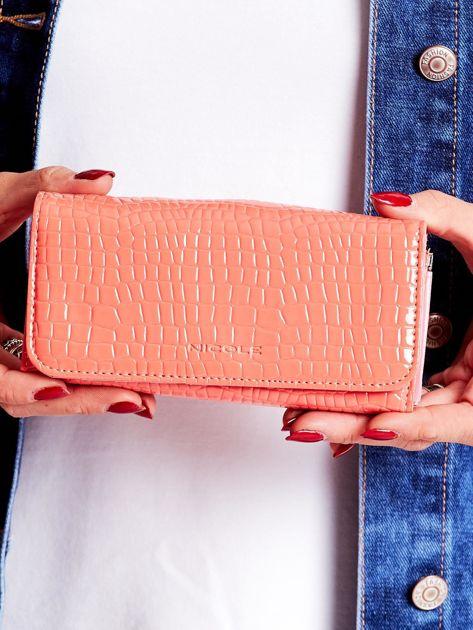 Łososiowy tłoczony portfel z ekoskóry