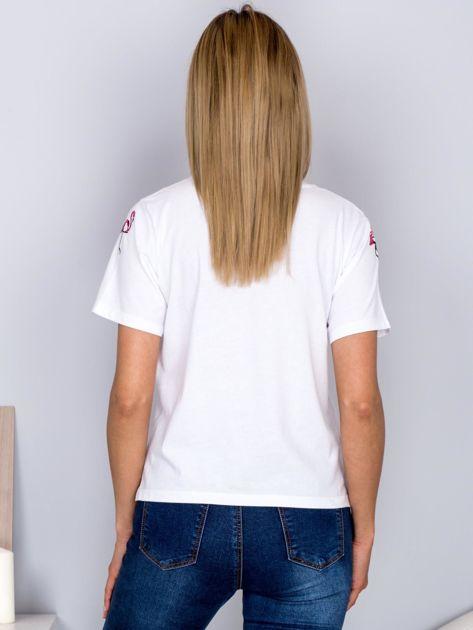 Luźny t-shirt we flamingi biały                              zdj.                              2