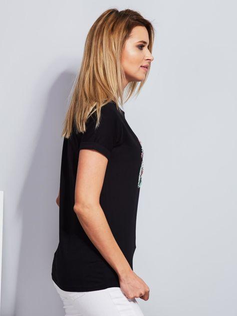 Luźny t-shirt z haftowaną aplikacją roweru czarny                              zdj.                              5