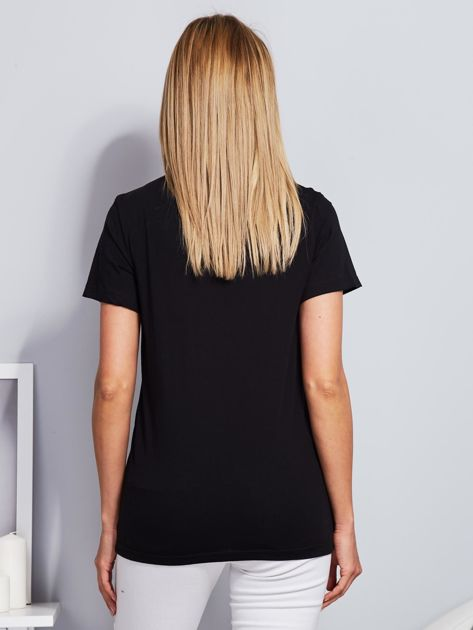 Luźny t-shirt z kaktusami z cekinów czarny                                  zdj.                                  2