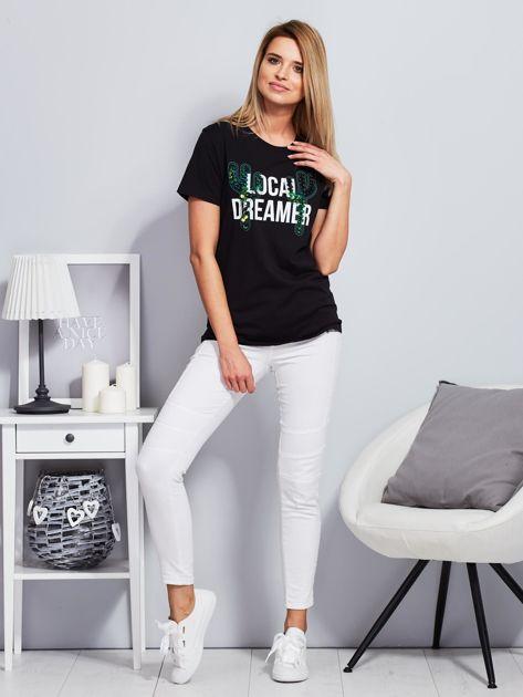 Luźny t-shirt z kaktusami z cekinów czarny                                  zdj.                                  4