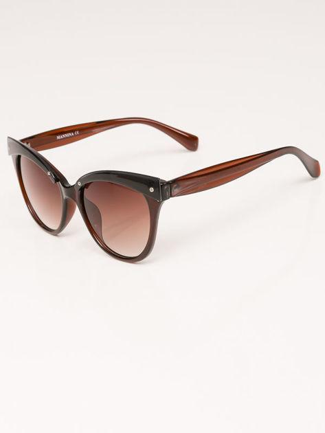 MANINA Okulary przeciwsłoneczne damskie brązowe szkło brązowe dymione                              zdj.                              2
