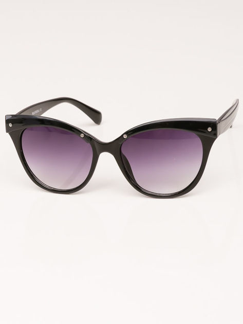 MANINA Okulary przeciwsłoneczne damskie czarne szkło szaro-fioletowe dymione                              zdj.                              4
