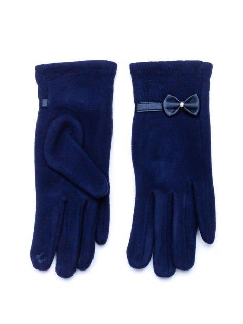 """""""MOHER"""" Granatowe rękawiczki damskie z pikowaniem i kokardą"""