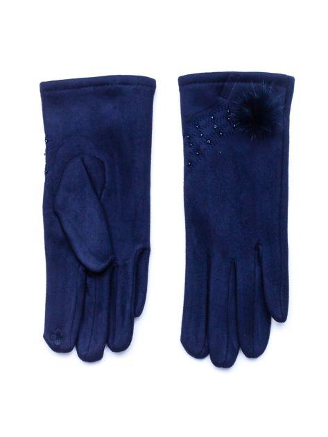 """""""MOHER"""" Granatowe rękawiczki damskie ze zdobieniem"""