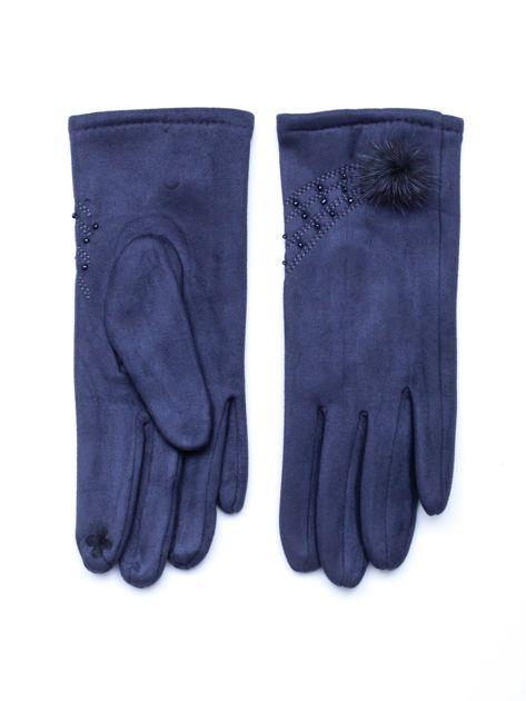 """""""MOHER"""" Szare rękawiczki damskie ze zdobieniem"""