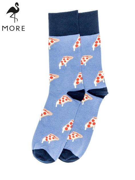 MORE Niebiesko-szare skarpety męskie w kawałki pizzy                                  zdj.                                  1