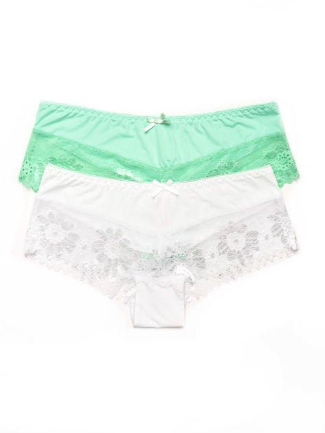 Majtki szorty damskie z koronką 2-pak biało-zielone                              zdj.                              1