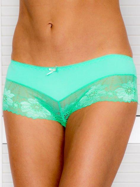 Majtki szorty damskie z koronką 2-pak biało-zielone                              zdj.                              4