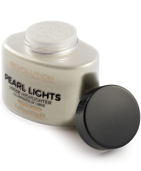 Makeup Revolution Pearl Lights Loose Highlighter Puder sypki rozświetlający True Gold 25 g