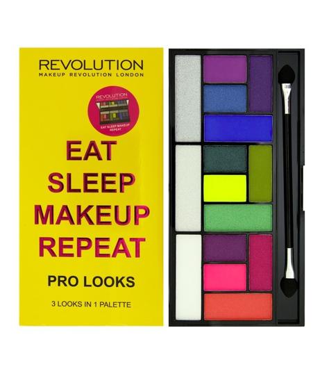 "Makeup Revolution Pro Looks Palette 15 Zestaw cieni do powiek Eat Sleep Makeup Repeat (15 kolorów) 13g"""