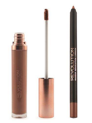 Makeup Revolution Retro Luxe Gloss Lip Kit Zestaw do ust konturówka 1g + matowa pomadka w płynie 5,5ml Noble                              zdj.                              4