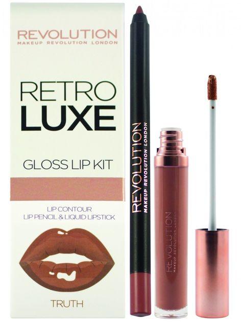 Makeup Revolution Retro Luxe Gloss Lip Kit Zestaw do ust konturówka 1g + pomadka w płynie 5,5ml Truth                              zdj.                              1