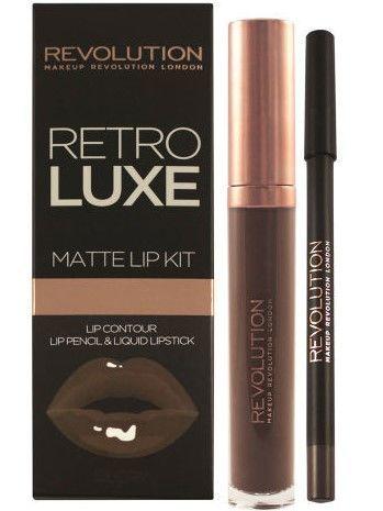 Makeup Revolution Retro Luxe Matte Lip Kit Zestaw do ust konturówka 1g + matowa pomadka w płynie 5,5ml Glory                              zdj.                              1