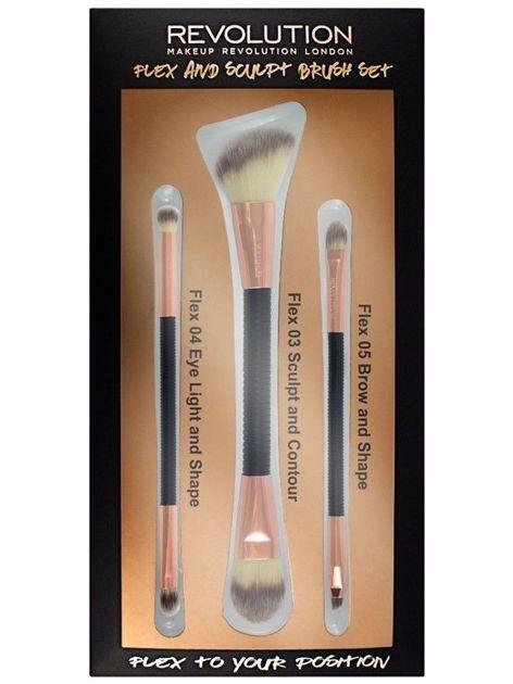 Makeup Revolution Zestaw pędzli do makijażu Flex & Sculpt Brush Set 3 szt.