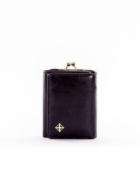 Mały czarny portfel damski z kieszonką na bigiel                              zdj.                              1