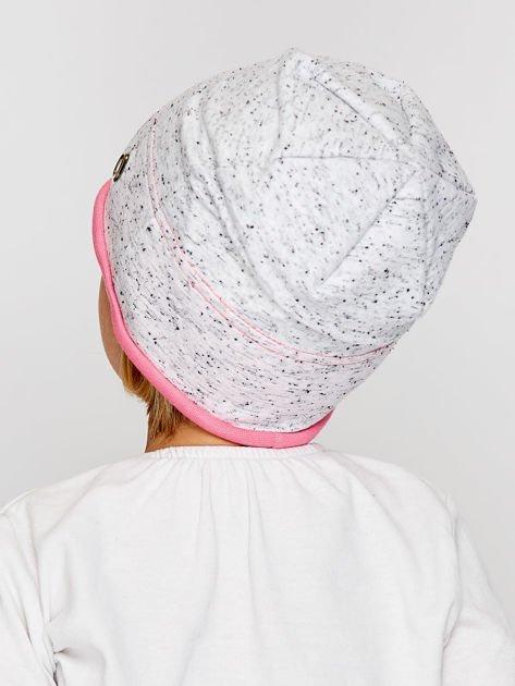 Melanżowa czapka dziewczęca z ozdobnymi nitami szaro-różowa                              zdj.                              2