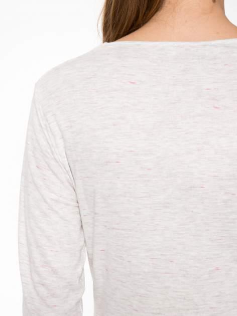 Melanżoworóżowa bawełniana bluzka typu basic z długim rękawem                                  zdj.                                  7