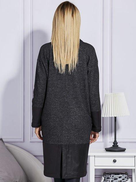 Melanżowy płaszcz ze skórzanymi wstawkami ciemnoszary                                  zdj.                                  2