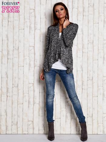 Melanżowy sweter z dłuższymi połami ciemnoszary                                  zdj.                                  2