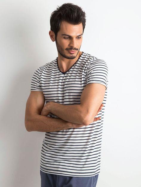 Męska koszulka w paski biało-granatowa                              zdj.                              1