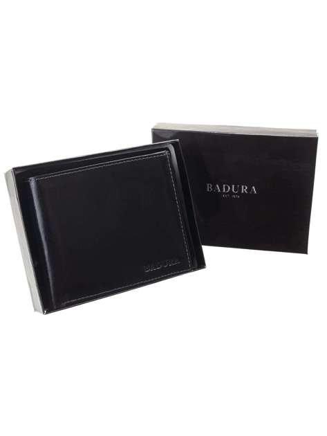 Męski czarny portfel z naturalnej skóry BADURA