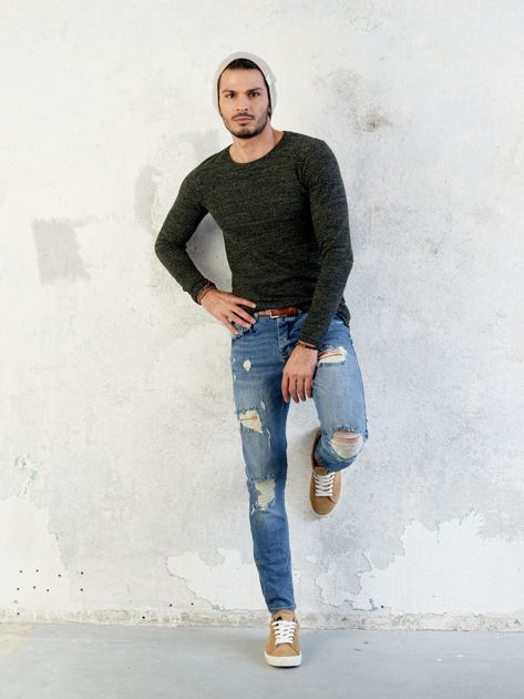 Męski sweter khaki                              zdj.                              3