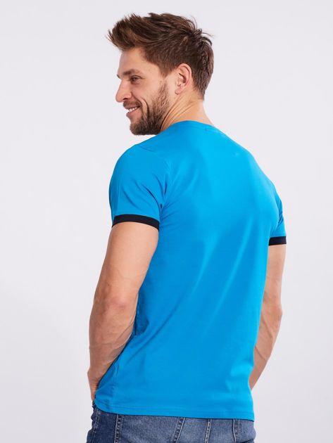 Męski t-shirt bawełniany jasnoniebieski                              zdj.                              2