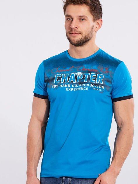 Męski t-shirt bawełniany jasnoniebieski                              zdj.                              1