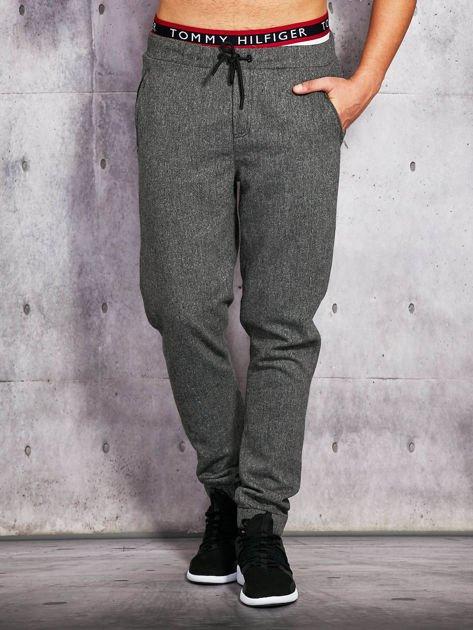 Męskie spodnie z wiązaniem i ściągaczami ciemnoszare