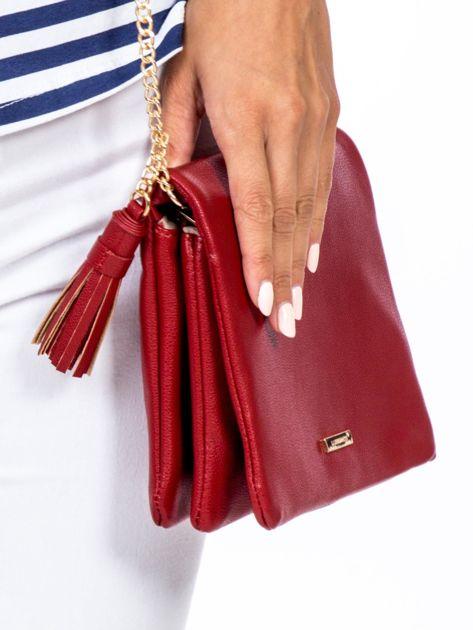 Miękka czerwona torebka na łańcuszku                              zdj.                              4