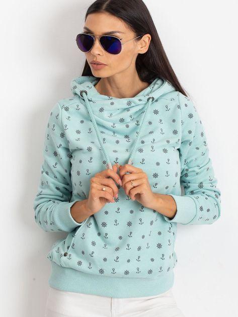 Miętowa bluza w marynarskie motywy                              zdj.                              1