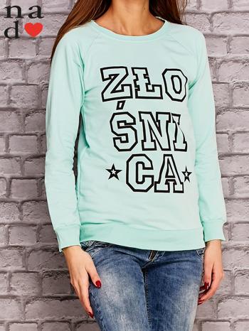 Miętowa bluza z napisem ZŁOŚNICA                                  zdj.                                  3
