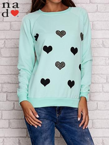 Miętowa bluza z serduszkami                                  zdj.                                  1