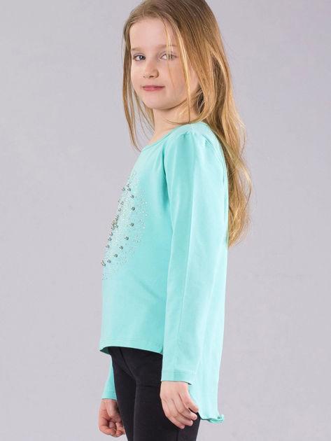 Miętowa bluzka dziewczęca z błyszczącą aplikacją                              zdj.                              3