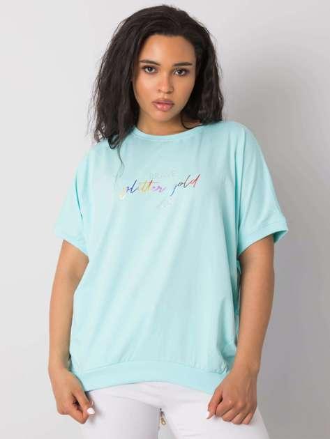 Miętowa bluzka plus size z napisem Jewel