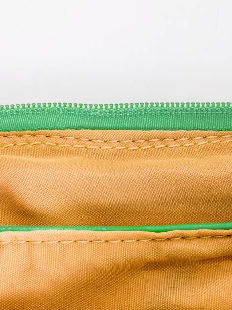 Miętowa kopertówka z dżetami motyw wąsów                                  zdj.                                  7
