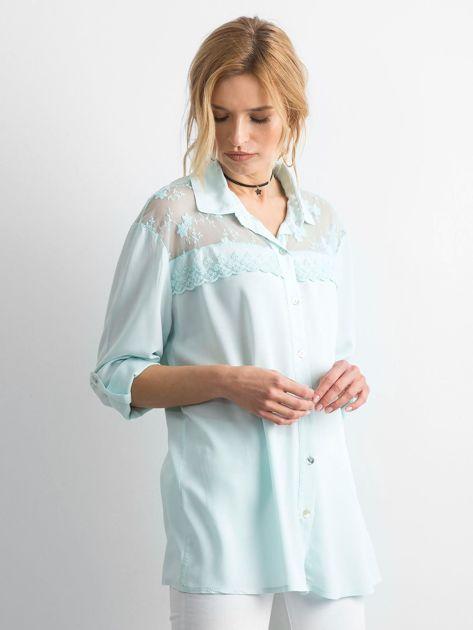 Miętowa koszula z długim rękawem                               zdj.                              3