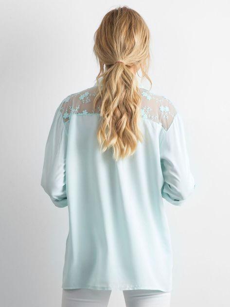 Miętowa koszula z długim rękawem                               zdj.                              2