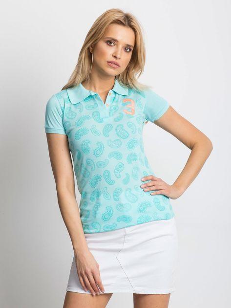 Miętowa koszulka polo z motywem paisley                              zdj.                              1