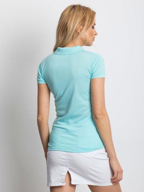Miętowa koszulka polo z motywem paisley                              zdj.                              2