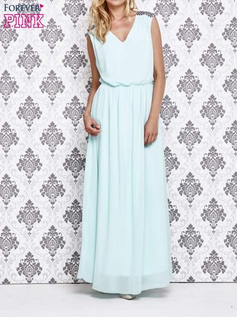 Miętowa sukienka maxi z pagonami z dżetów