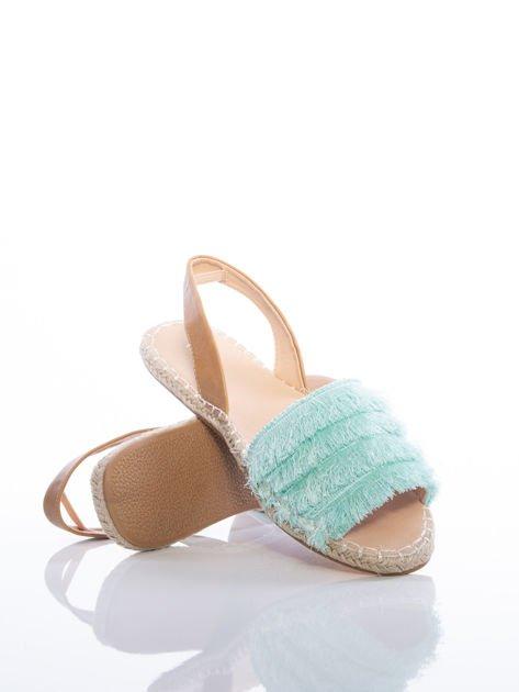 Miętowe sandały z ozdobnym frędzelkowym przodem                              zdj.                              4