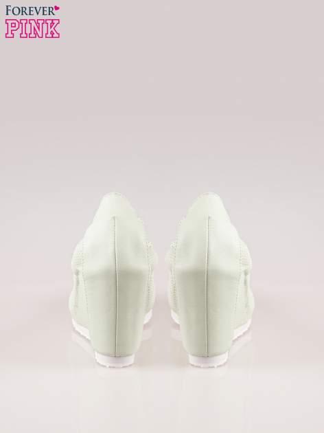 Miętowe siateczkowe buty textile Magical na koturnie                                  zdj.                                  3